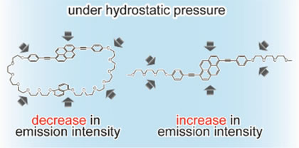 Under pressure: A fluorescent cyclophane solution shows significant fluorescence quenching under elevated pressure. The formation of a pressure‐induced intramolecular π‐stacked conformation is proposed to be responsible.